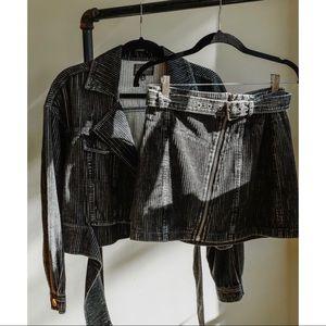 Jackets & Blazers - 🆕 Gray Moto Corduroy Belted Jacket
